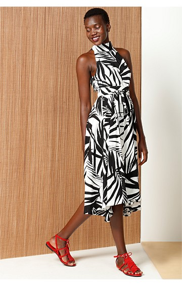 CHICAGO PRINTED HIGH NECK SLEEVELESS A-LINE DRESS IN BLACK WHITE LEAF