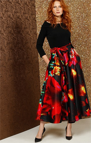 KATIE A-LINE SKIRT IN RED FLOWER PRINT