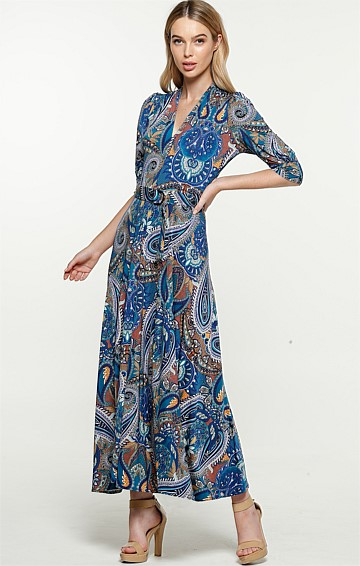 MCMAHON 3/4 SLEEVE V-NECK A-LINE MIDI DRESS IN BLUE GOLD PAISLEY PRINT