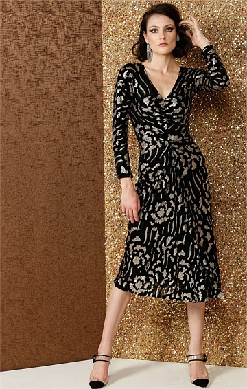 DELTA LONG SLEEVE V-NECK POLYESTER MESH EMBROIDERED DRESS IN VELVET GOLD ROSE FABRIC