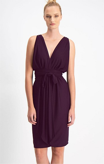 COLUMN DRAPE REVERSIBLE SLEEVELESS KNEE LENGTH DRESS IN BLACK CHERRY
