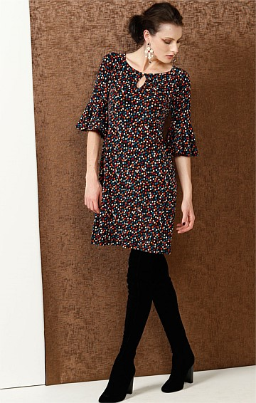 GRACIE FLUTE SLEEVE STRETCH KNEE LENGTH TUNIC JERSEY DRESS IN BLACK MULTI SPOT