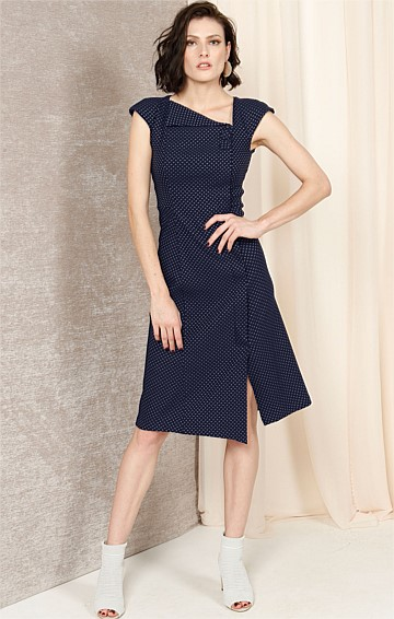 GRETTA ASYMMETRIC NECK STRETCH WOVEN JACQUARD CAP SLEEVE MIDI DRESS IN NAVY IVORY SPOT