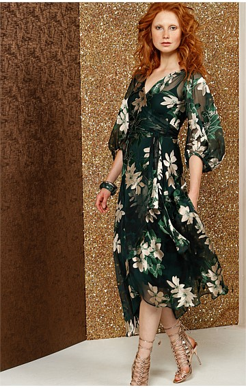 SARAH BISHOP SLEEVE V-NECK A-LINE SILK WRAP DRESS IN GREEN GOLD FLOWERS
