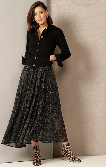 VERONICA A-LINE MIDI SKIRT IN BLACK GOLD MINI SPOT PRINT
