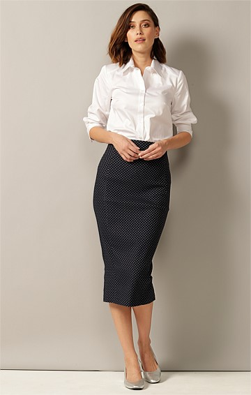 MYF KNEE LENGTH SLIM FIT STRETCH WOVEN JACQUARD PENCIL SKIRT IN NAVY IVORY SPOT