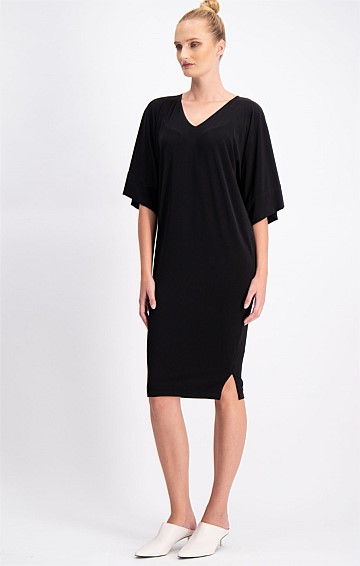 KIMONO REVERSIBLE 3/4 SLEEVE STRETCH JERSEY SHIFT DRESS IN BLACK