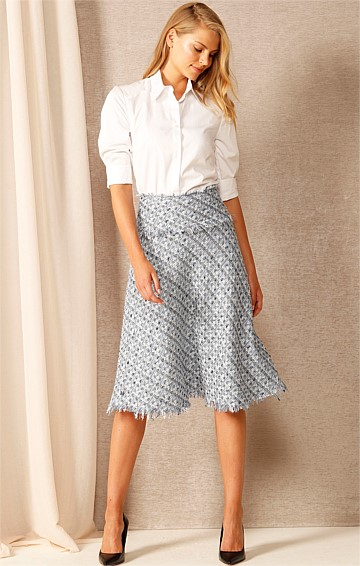 IMAGINE A-LINE KNEE-LENGTH SKIRT IN BLUE SILVER TWEED