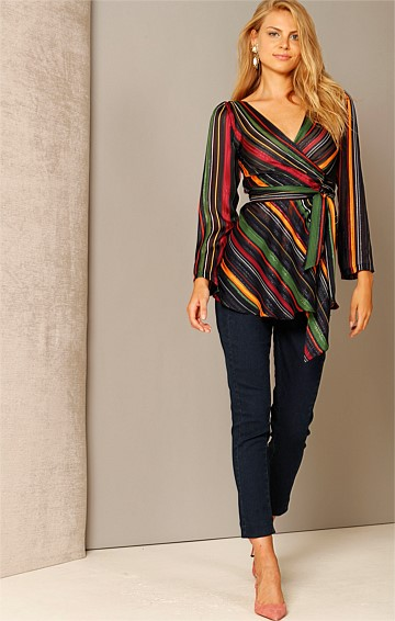 LIGHT MY FIRE LONG SLEEVE V-NECK WRAP TUNIC IN NAVY GREEN MAGENTA STRIPE CHIFFON