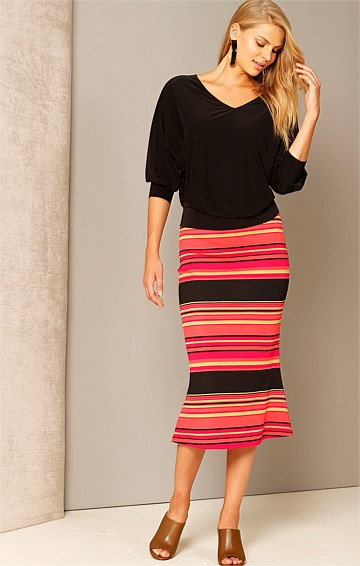 SHAKE A TAIL FEATHER FITTED STRETCH FISHTAIL HEM SKIRT IN PINK LIME STRIPE