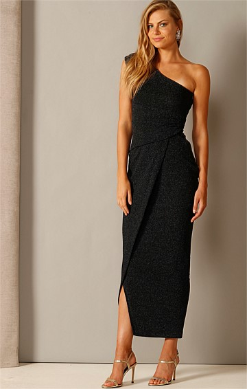 VALEDICTORY ONE SHOULDER FORMAL MAXI DRESS IN MIDNIGHT LUREX