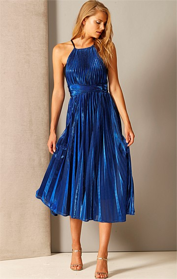 FORTUNE FAVOURS THE BOLD A-LINE MIDI DRESS IN SAPPHIRE PLEATED LUREX
