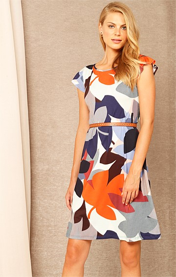 HAPPY DAYS CAP SLEEVE STRETCH JERSEY SHIFT DRESS IN COBALT TANGERINE FLOWER PRINT
