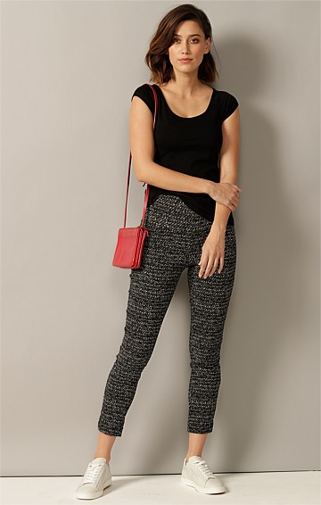 CIGARETTE PANT IN BLACK IVORY JACQUARD