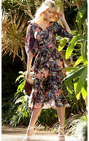 BLOSSOM BISHOP SLEEVE V-NECK A-LINE SILK WRAP DRESS IN AUBERGINE ORANGE FLORAL