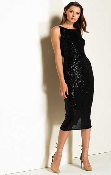 MARTINIQUE REVERSIBLE COWL-NECK SEQUIN EMBROIDERED JERSEY MIDI DRESS IN BLACK