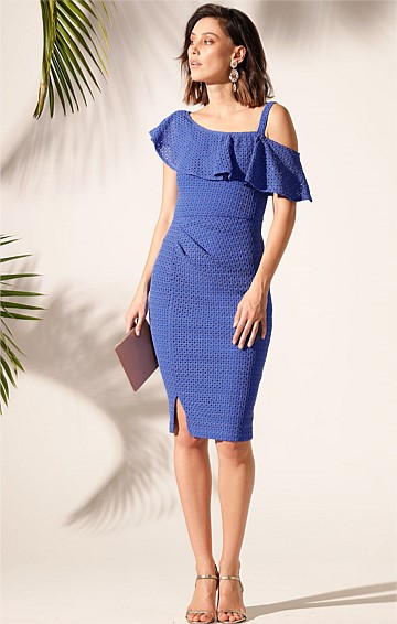 SAINT VINCENT STRETCH LACE ONE SHOULDER FRILL FITTED KNEE-LENGTH DRESS IN SAPPHIRE LACE
