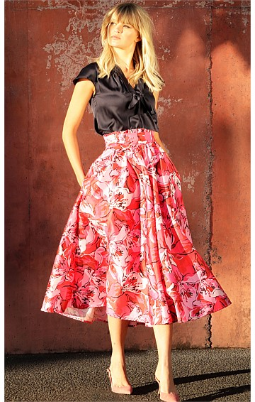 HONOLULU A-LINE MAXI SKIRT IN RED PINK FLOWER PRINT