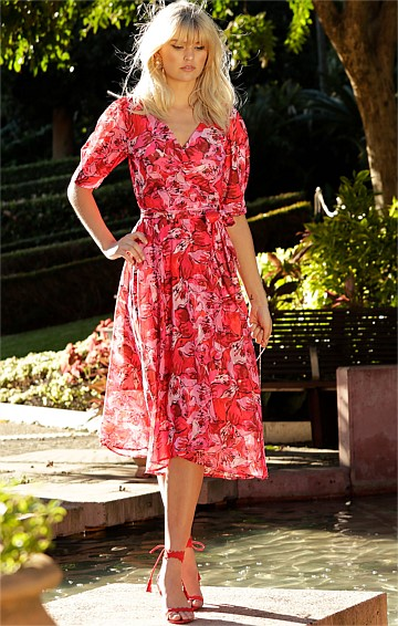 CHARLESTON CHIFFON WRAP V-NECK A-LINE MIDI DRESS IN RED PINK FLOWER BURNOUT PRINT
