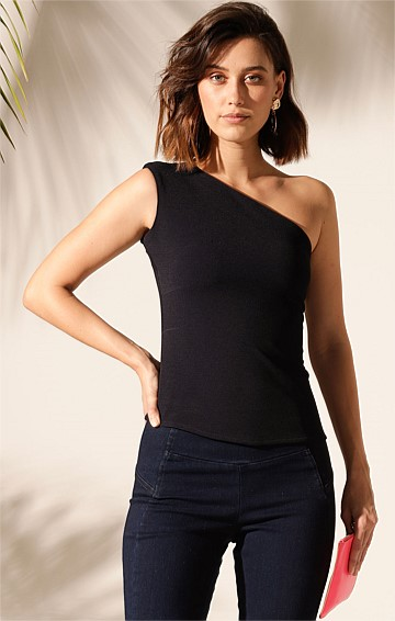 OBELISK ONE SHOULDER STRETCH SCUBA CREPE TOP IN NAVY