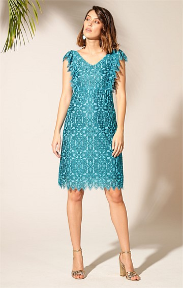 HISPANOLA LACE V-NECK A-LINE KNEE-LENGTH DRESS IN TURQUOISE