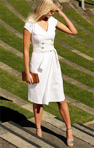 GRENADA STRETCH LINEN DOUBLE BREASTED A-LINE CAP SLEEVE KNEE-LENGTH DRESS IN WHITE