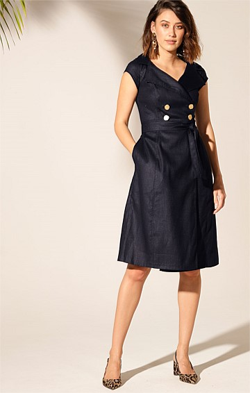 GRENADA STRETCH LINEN DOUBLE BREASTED A-LINE CAP SLEEVE KNEE-LENGTH DRESS IN NAVY