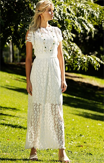 MARIE LOUISE CAP SPLIT SLEEVE BOAT-NECK SCALLOPED LACE MAXI DRESS IN IVORY
