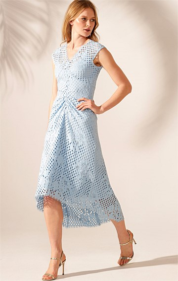 CHERRY HILL LACE HI-LO HEM CAP SLEEVE V-NECK A-LINE GATHERED DRESS IN SKY BLUE WITH BLUE SLIP