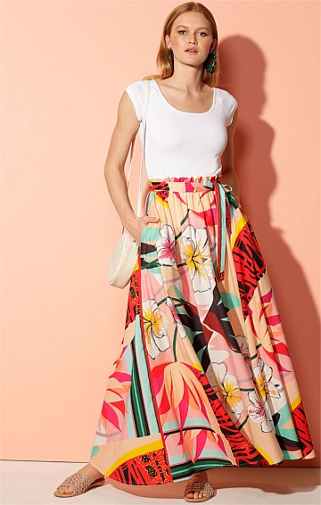 JAMAICA COTTON LONG HIGH WAIST A-LINE MAXI SKIRT WITH POCKETS IN TROPICANA PRINT