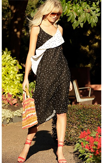LOUISIANNA BIAS SLEEVELESS V-NECK ASYMMETRICAL A-LINE LINEN DRESS IN BLACK WHITE SPOT