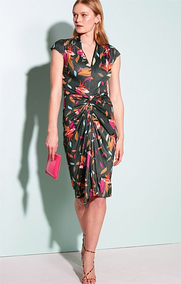 NEW PROVIDENCE STRETCH JERSEY FITTED V-NECK CAP SLEEVE DRAPE DRESS IN OLIVE BIRD OF PARADISE PRINT