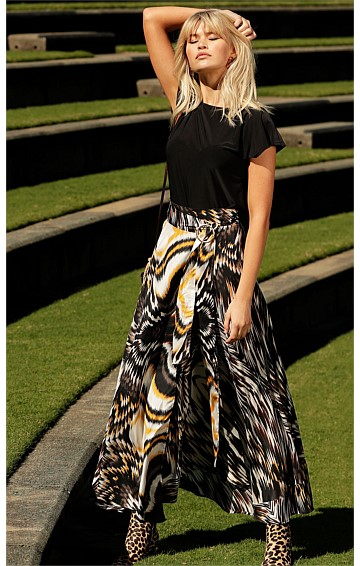 SANS SOUCI SILK ASYMMETRICAL HEM A-LINE MAXI WRAP SKIRT IN BROWN YELLOW FEATHER PRINT