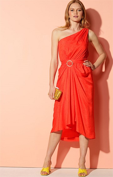 SAO PAOLO ONE SHOULDER WITH FRILL CAPE ASYMMETRICAL HEM MIDI DRESS IN TANGERINE