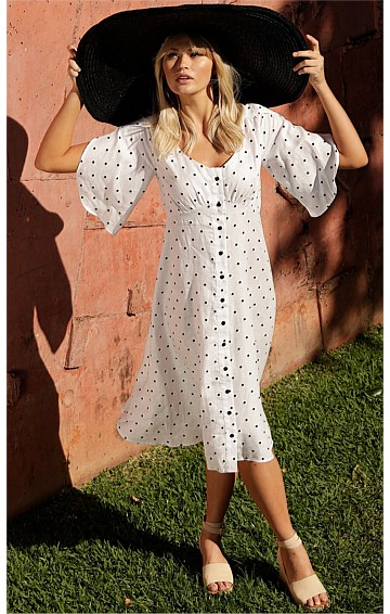 ST LUCIA 3/4 SPLIT SLEEVE V-NECK A-LINE MIDI LINEN DRESS IN WHITE BLACK SPOT