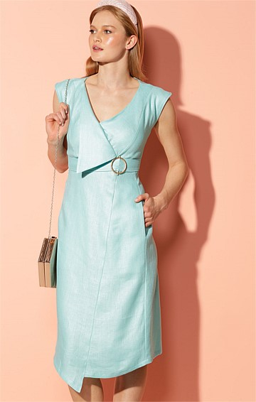 FLORIDA FAUX WRAP LINEN CAP SLEEVE V-NECK ASYMMETRIC A-LINE DRESS IN AQUAMARINE