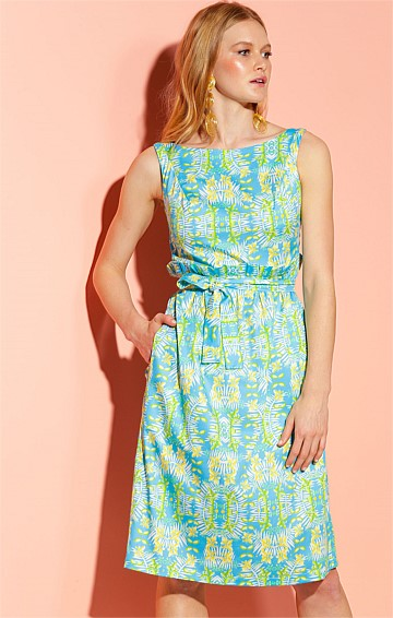 FLORIDA KEYS COTTON FIT AND FLARE BOAT-NECK SLEEVELESS A-LINE DRESS IN SKY LEMON FLORAL PRINT