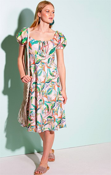 LEAHAMPTON ADJUSTABLE PUFF CAP SLEEVE A-LINE KNEE LENGTH LINEN DRESS IN PINK BOTANICAL PRINT