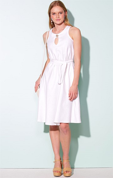 POHARA SLEEVELESS KEYHOLE NECK A-LINE KNEE-LENGTH LINEN DRESS IN WHITE