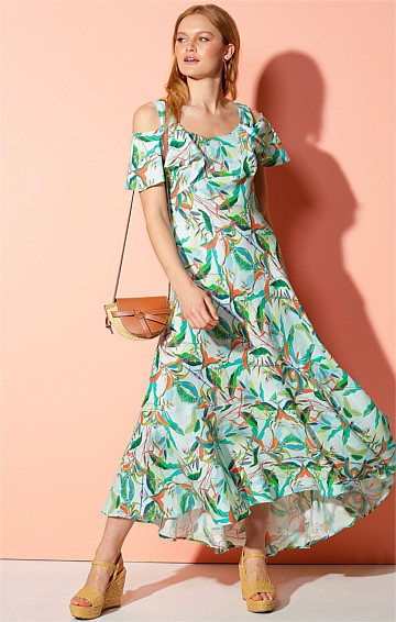 HAITI HEY-DEY CUT OUT SHOULDER  HI-LO HEM FRILL MAXI DRESS IN AQUA BOTANICAL PRINT