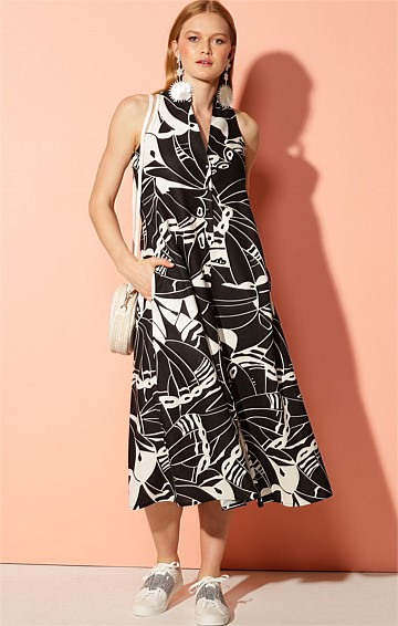 ST DAVID SLEEVELESS COLLARED V-NECK LOOSE-FIT SHIRTMAKER MIDI LINEN DRESS IN BLACK IVORY PRINT