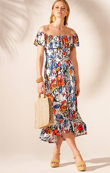 TAHITI LOOSE FIT OFF THE SHOULDER FRILL STRETCH JERSEY MIDI DRESS IN WHITE MULTI FLOWER PRINT
