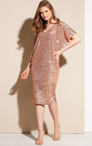 ANTILLES REVERSIBLE SEQUIN EMBROIDERED JERSEY KNEE-LENGTH BATWING DRESS IN ROSE GOLD
