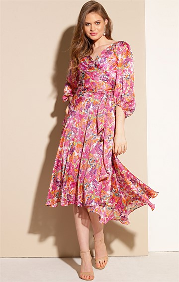 BARONESS BISHOP SLEEVE V-NECK A-LINE WRAP MIDI DRESS IN PINK PAISLEY LUREX STRIPE