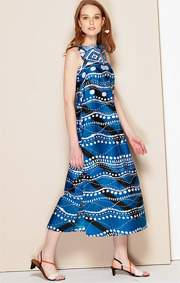 DANIA COTTON SLEEVELESS SHIRTMAKER MIDI DRESS WITH SIDE SPLIT IN BLUE WHITE ZIG ZAG ITALIAN PRINT