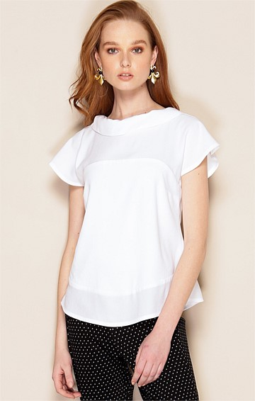 KATE CAP SLEEVE HIGH-NECK COLLAR TOP IN WHITE