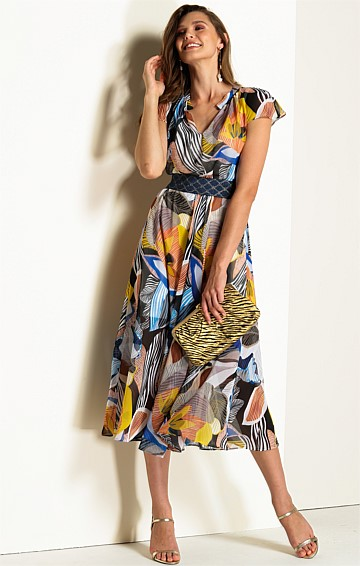 ATHENS CAP SLEEVE V-NECK A-LINE MIDI DRESS IN MULTI ABSTRACT LEAF