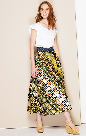 BIZET COTTON A-LINE MIDI SKIRT IN OLIVE FLORAL STRIPE PRINT