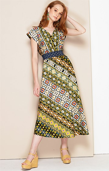LEONORA COTTON FIT AND FLARE CAP SLEEVE V-NECK A-LINE MIDI DRESS IN OLIVE FLORAL STRIPE PRINT