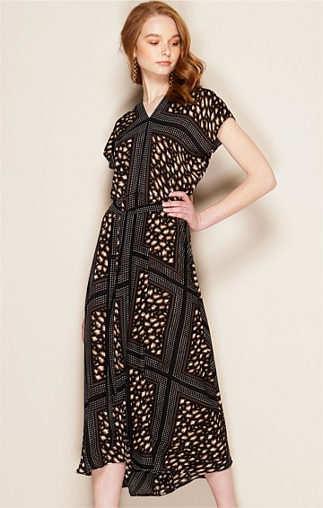 BABBINO V-NECK CAP SLEEVE A-LINE MIDI DRESS IN BLACK ANIMAL PRINT